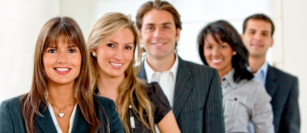 Group of business people smiling at the office